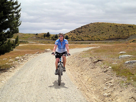 Cycling on bike trail in Twizel