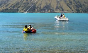 Boating on Lake Ohau